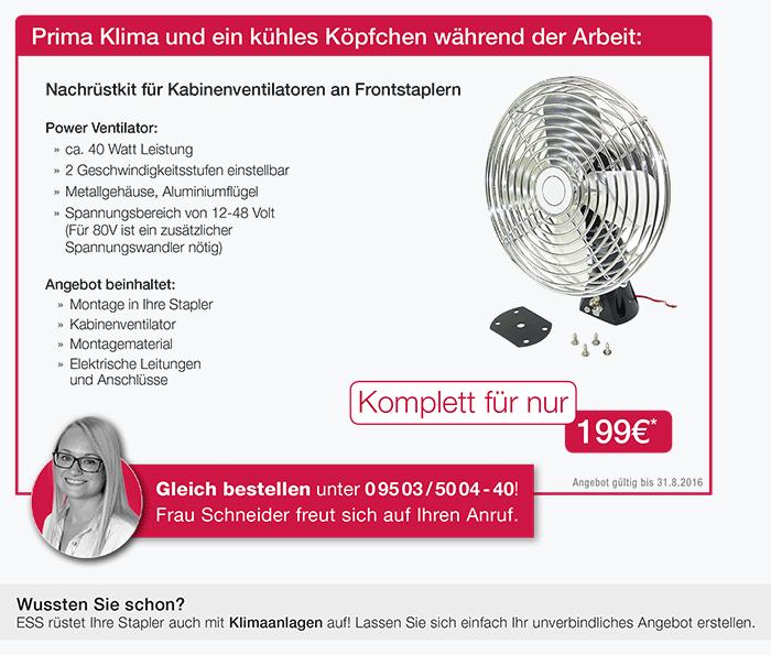 Ventilator zum Nachrüsten für Gabelstapler. Jetzt bei ESS Staplerservice kaufen.